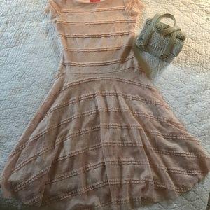 Pink lace midi dress